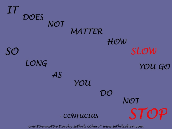 Do Not Stop says Confucius by Seth D. Cohen for Stop.Breathe.Action